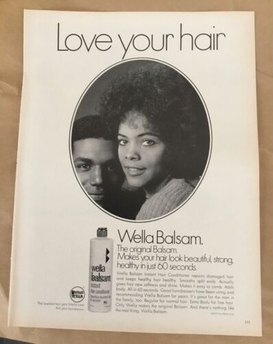 Wella Balsam hair conditioner ad 1972 original vintage print 1970s retro art