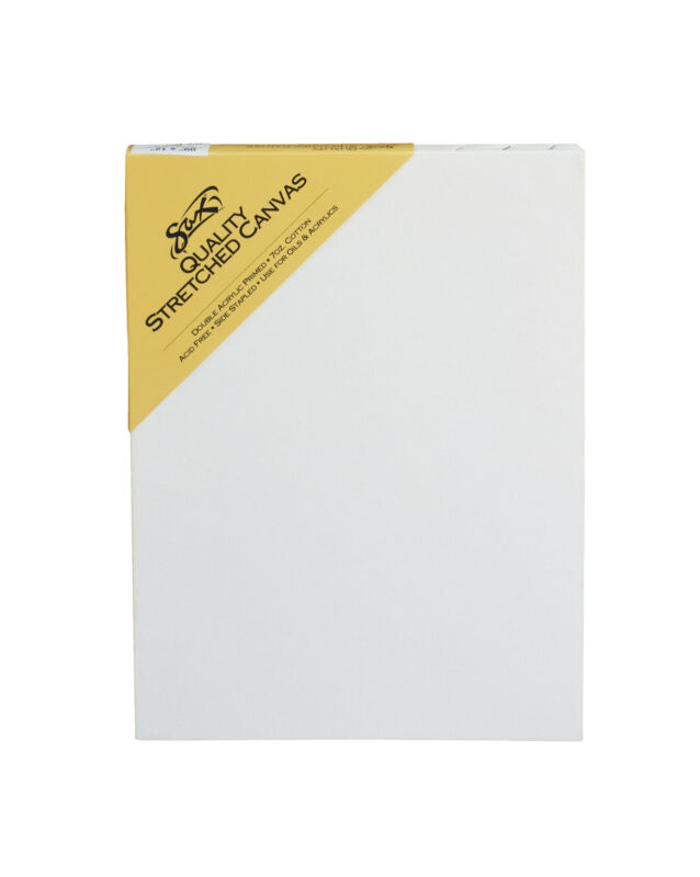 Sax Quality Stretched Canvas, Double Acrylic Primed, 9 x 12 Inches, White