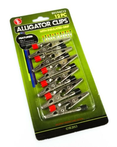 """NEW 12pc 2"""" Alligator Clip Set Negative/Positive Insulated Post Electrical Clamp"""