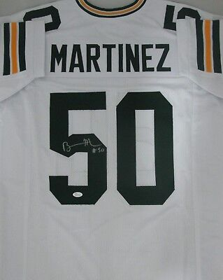 Custom Replica Away Jersey - Packers LB BLAKE MARTINEZ #50 Signed Away White Custom Replica Jersey AUTO - JSA
