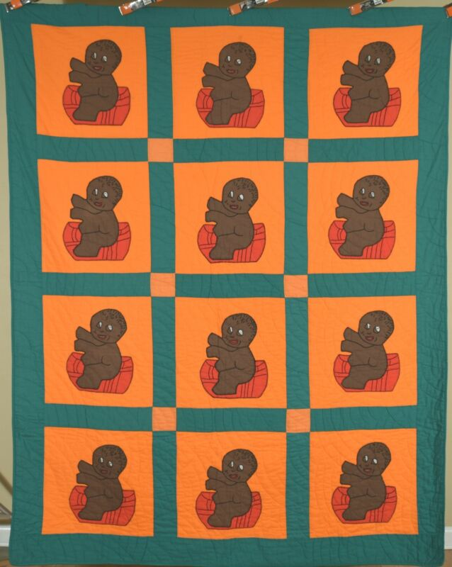 Rare Vintage African American Baby Antique Quilt, Vibrant Colors!
