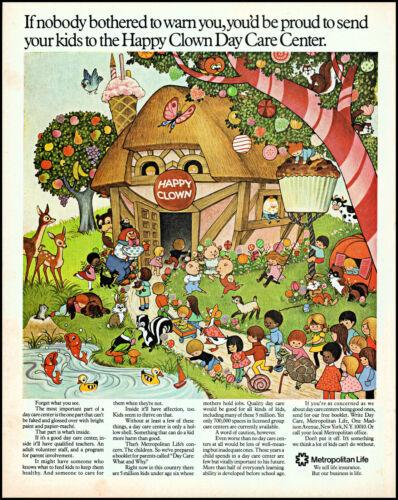 1972 Kids Happy Clown Day Car Center art Metropolitan Life retro print ad adL21