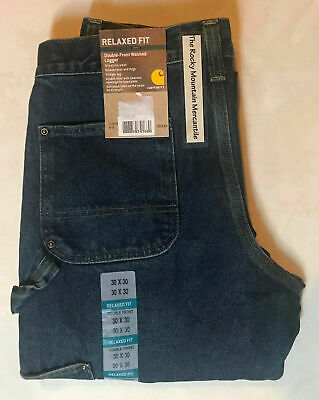 NEW Carhartt Mens Logger WORK Jeans DOUBLE FRONT & DOUBLE KNEE CARPENTER size 40