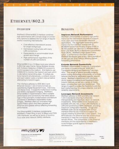 Wellfleet Communications - Ethernet / 802.3 Interface Sales Brochure (1992)