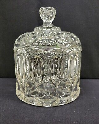 Moon And Star Glass Crystal Clear Medium Jardiniere Canister Candy Dish