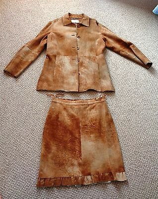 $999 Nice 3-Piece Brown Leather SUEDE Outfit: PANTS / SKIRT / JACKET Womens W XS 3 Piece Leather Skirt