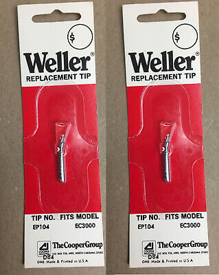 Weller Replacemsnt Soldering Iron Tips Ep 104 364 Bent Conical Tip Lot Of 2