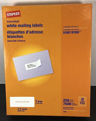 New Staples White Laser Inkjet 1x 2 58 Address Labels 7500 Labels Avery 5960