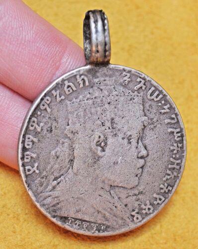 Rare! Antique Emperor Menelik II Silver Coin Medallion Ethiopian Made Pendant