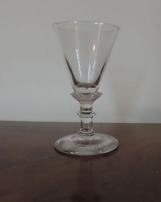 Antique European Red Wine Sherry Flute Glass 19th c. Polished Pontil England