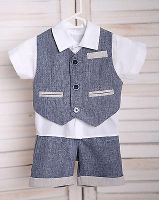 Milan ♥ Sommer-Taufanzug Festanzug Babyanzug Sommeranzug blau/weiß NEU  ()