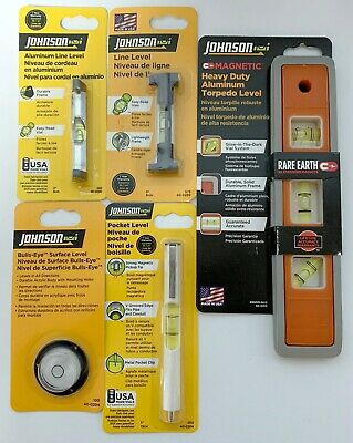 Lot Of 5 Johnson Levels Aluminum Torpedo Glow Magnetic Line Pocket Surface Usa
