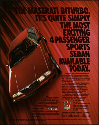1985 Maserati Biturbo Sports Sedan Car Italiana retro photo print ad S19