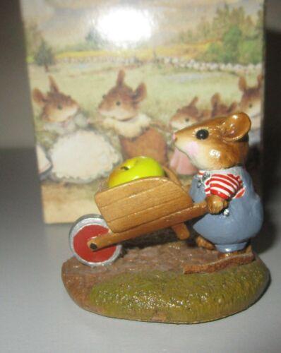 Wee Forest Folk HARVEST MOUSE w/ APPLE Wheelbarrow Figurine M-104 New +Box