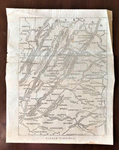 Original 1868 Civil War Vellum Map ~ MIDDLE VIRGINIA ~ Detailed Extremely Rare