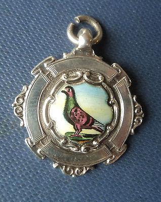 Vintage Sterling Silver & Enamel Fob Medal / Pendant Pigeon h/m 1935 Chester