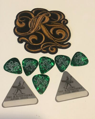 """The Raconteurs """"R"""" Embroidered 4"""" Logo Patch, 6 Picks, 2 After Show Stickers Lot"""