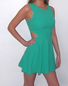 NEW-BOUTIQUE-SUMMER-MINT-GREEN-CUT-OUT-WAIST-DETAIL-MINI-DRESS-8-10-12-14