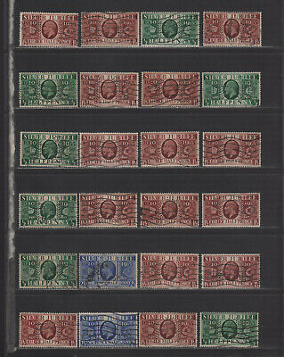 KGV Silver Jubilee Perfin Collection of All Different Designs
