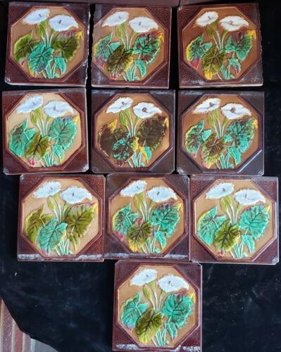 10 English Art Nouveau ceramic TILES, R d # 83666, Trumpet Flower