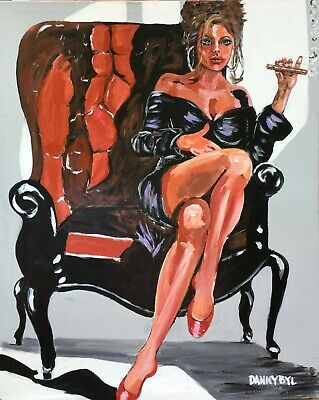 Cohiba Cigar Babe Original Art Painting DAN BYL Contemporary Modern Huge 4x5ft