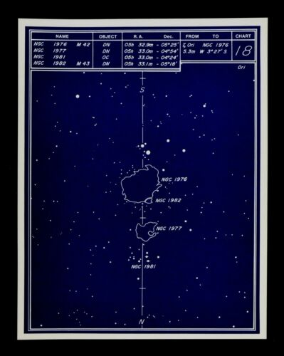 Astronomy Deep Sky Star Chart no 18 Constellation Orion Diffuse Nebulae Map