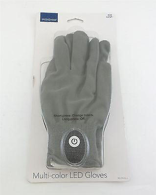 Insignia Multi-color LED Gloves with Lights Large NS-CFLGL-L Gray - Gloves With Led Lights