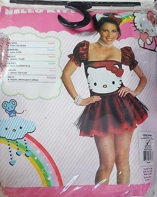 Hello Kitty Halloween Costume Adult Ladies Women Size Lrg With Stockings Bundle - Hello Kitty Adult Halloween Costume
