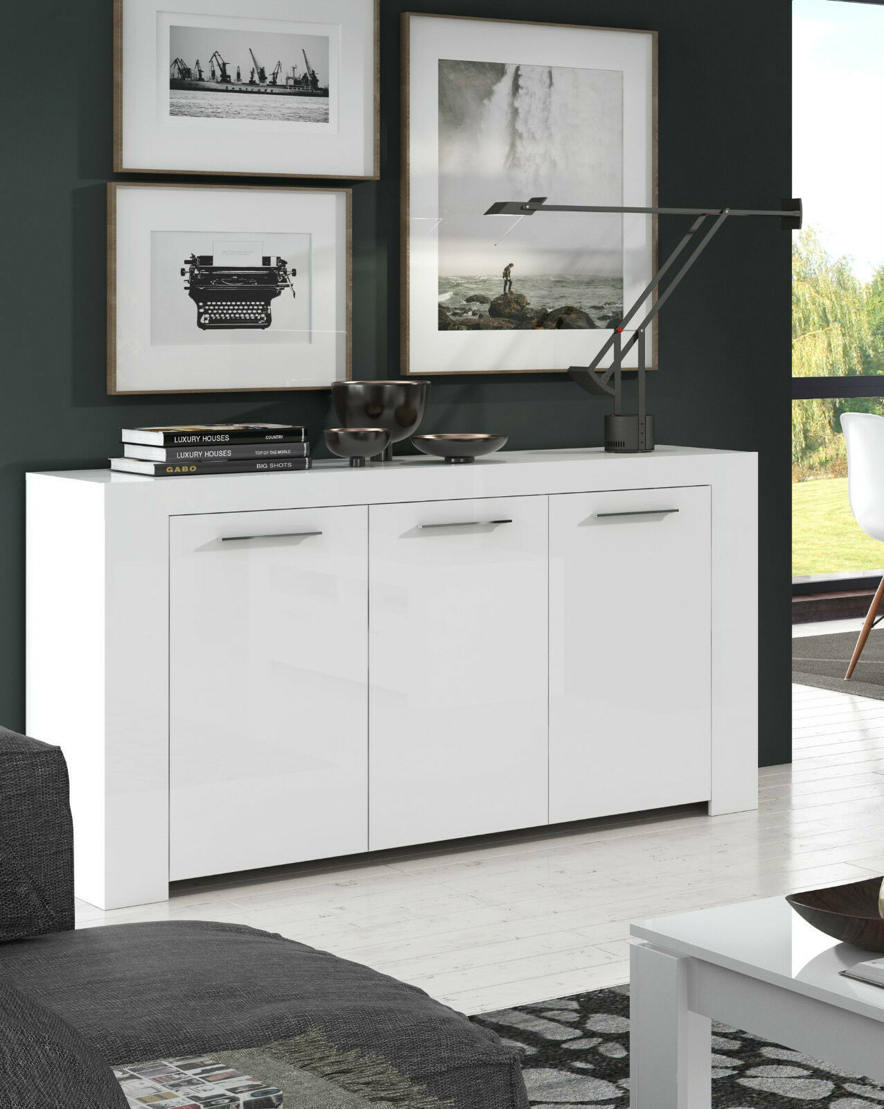 dining room cupboard storage | White Sideboard Lounge Dining Room Furniture Buffet ...