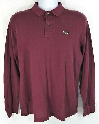 Vintage Lacoste Men's Long Sleeve Polo Shirt Mens Size 5 Large Burgundy Red