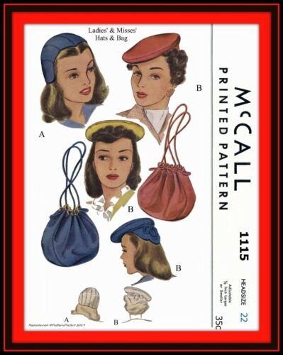 BERET Hat TAN Cap BAG Purse McCall 1115 Vintage 40