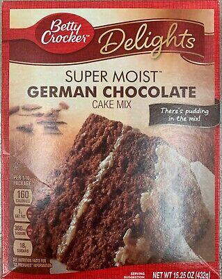 NEW BETTY CROCKER DELIGHTS SUPER MOIST GERMAN CHOCOLATE CAKE MIX 15.25 OZ BOX Betty Crocker Cake Mix