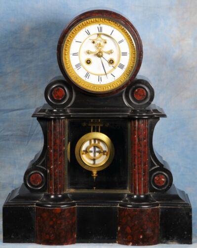 French Black & Rouge Marble Regulator Clock 19th Century Ellicott Pendulum