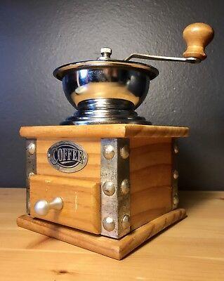 Vintage Wood / Metal Coffee  Grinder  Hand Crank Mill