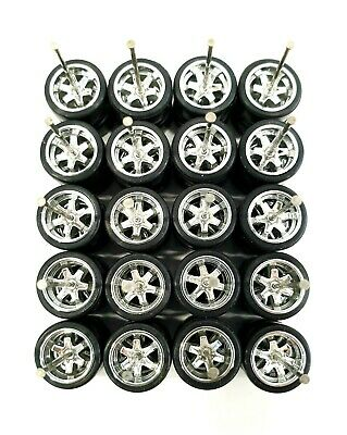 10 sets 6 Spoke TE37 Chrome long axle fit 1:64 hot wheels rubber tires NEW 2019