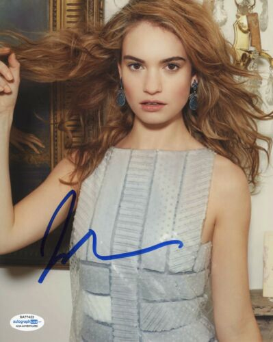 Lily James Downton Abbey Autographed Signed 8x10 Photo COA