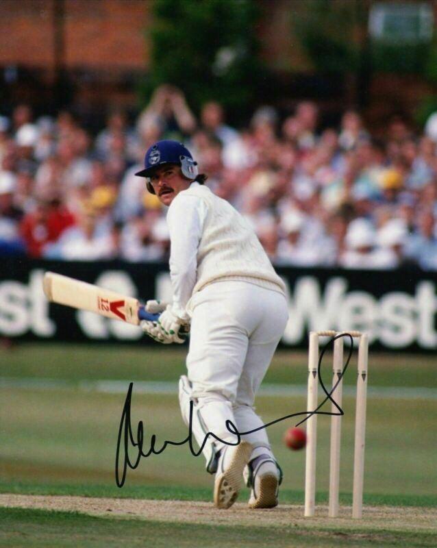 Allan Lamb Signed 10X8 PHOTO England Cricket Legend AFTAL COA (A)