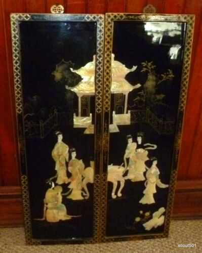 Pair Vintage Mid Century Chinese Modern Lacquer Mother Of Pearl Panel Paintings