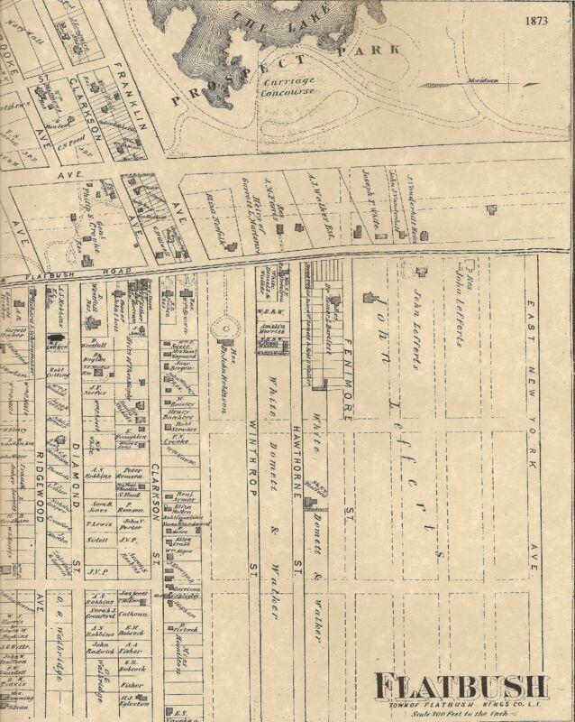 Flatbush Parkville Prospect Park NY 1873 Maps with Homeowners Names Shown