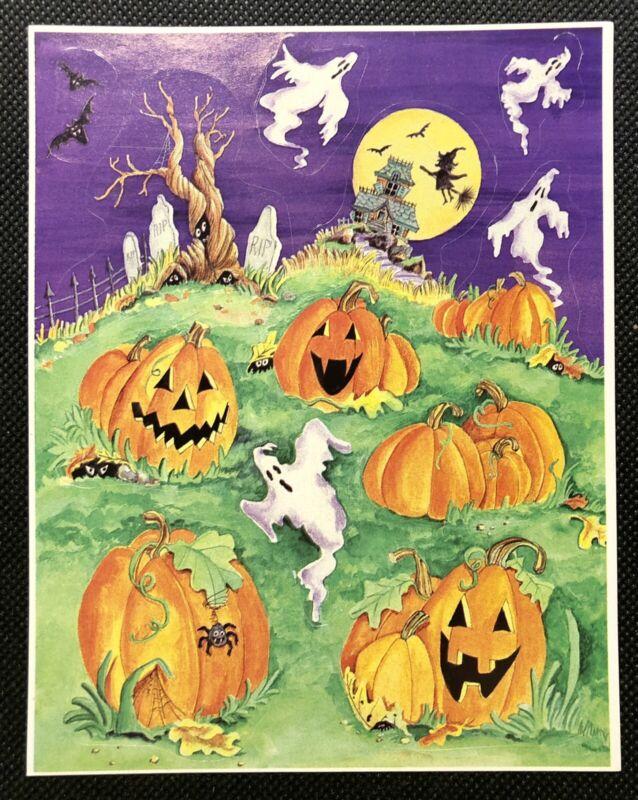 Vintage Paper Magic Halloween Ghosts And Pumpkins Sticker Sheet