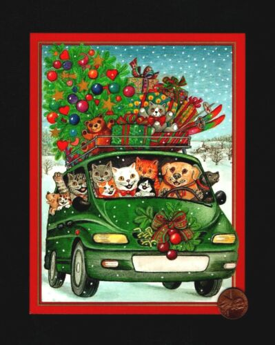 CASPARI Christmas Car Kittens Cats Dog Tree Toys - Greeting Card W/ TRACKING