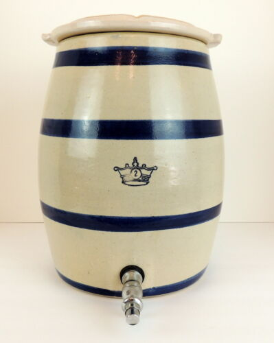 Vintage Robinson Ransbottom 2 Gallon Water Cooler Crock Blue Stripe with Lid