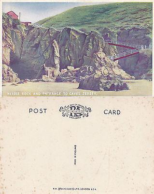 1920's NEEDLE ROCK & CAVE ENTRANCE JERSEY CHANNEL ISLANDS UNUSED COLOUR POSTCARD