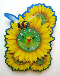 CHILDRENS BUMBLE BEE ON A FLOWER CLOCK HAND MADE WOODEN CLOCK NURSERY WALL CLOCK