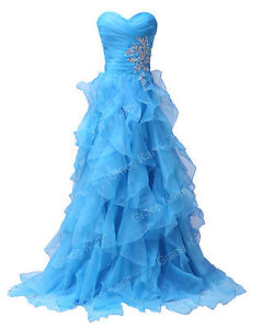 Strapless Organza Empire Waist Long Formal Party Ball Gown Prom Evening Dress
