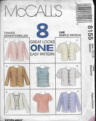 McCall's 8 Great Looks Pattern #8155-Misses Top & Jacket in Sizes 12-14