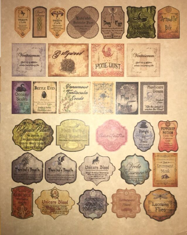 """LABELS ONLY 1.5""""Halloween Apothecary Potion Bottles Harry Potter Party Prop DIY"""