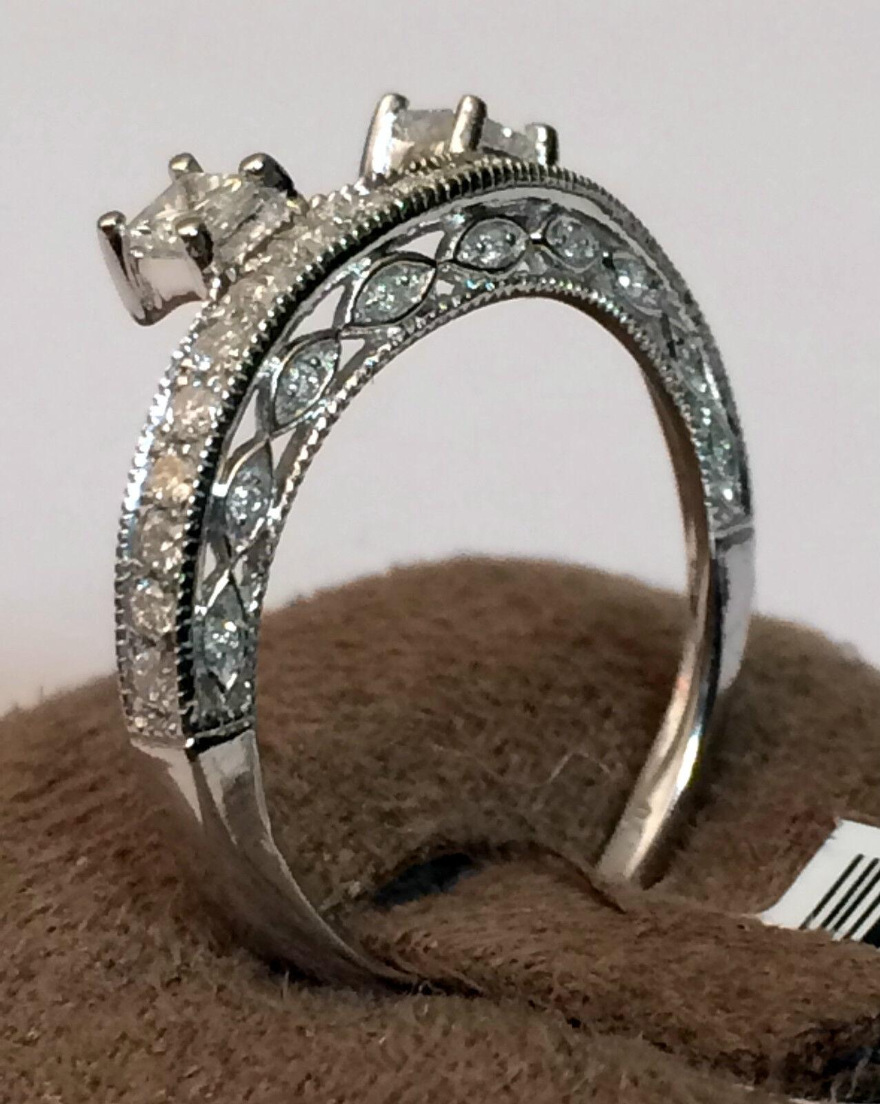 14k white gold diamonds princess cut vintage solitaire