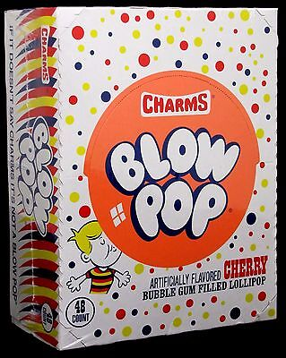 Charms Blow Pop Cherry Suckers Candy Pops Bulk Lollipops Sucker 48 ct - Charms Suckers