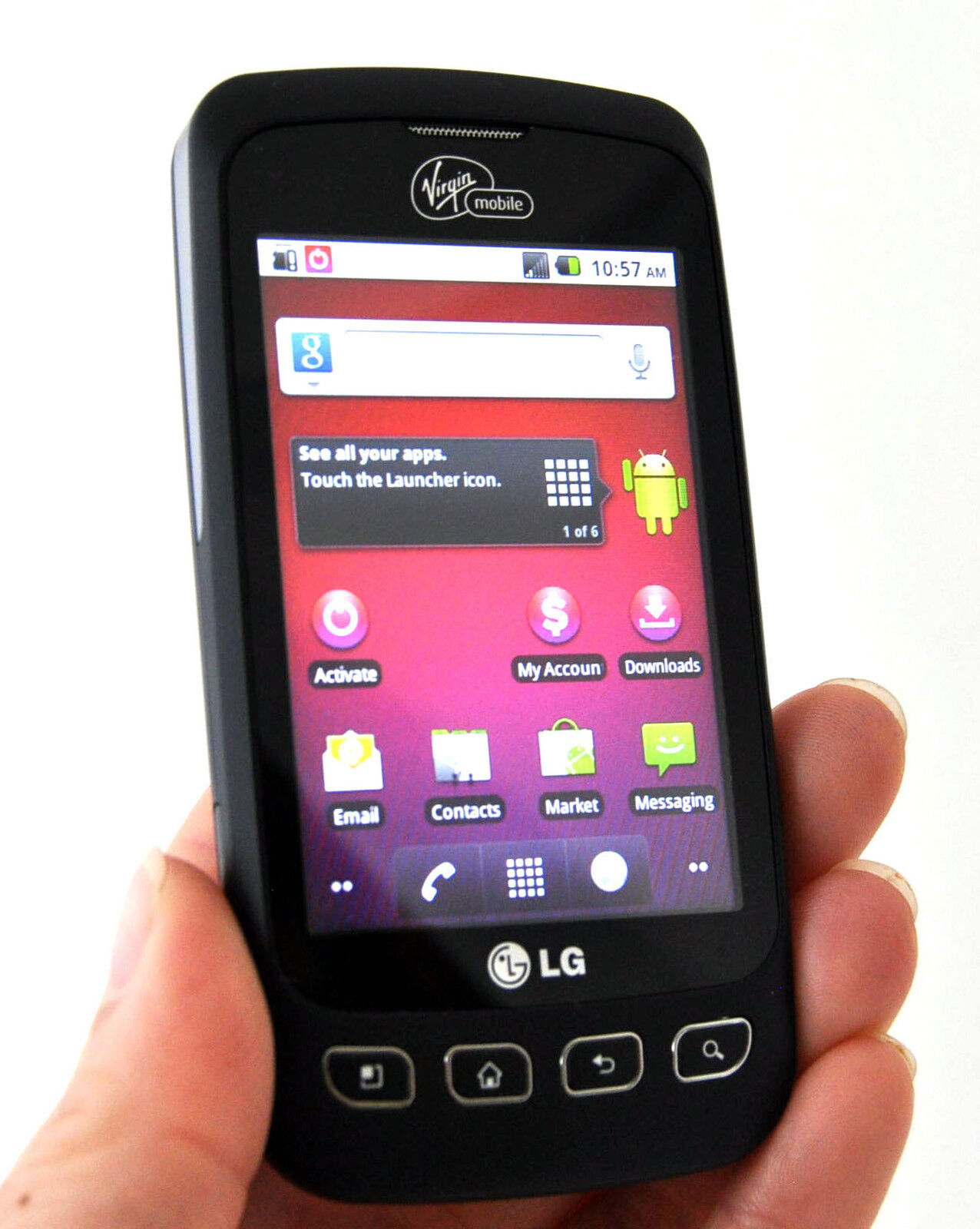 LG Optimus V VM670 Virgin Mobile Wireless Smart Phone BLACK Android WiFi  Touch C